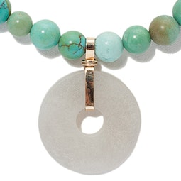 Turquoise Necklace with Jadeite Bi Pendant
