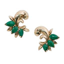 Jade Screw On Earrings
