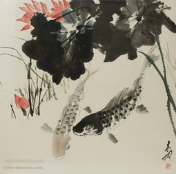 Fish in a Lotus Pond by H. H. Wong 黃可鏗