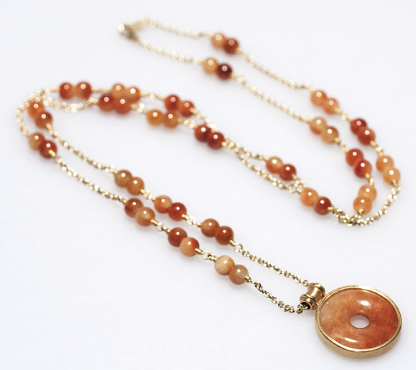 Red/Yellow Jade Necklace by Tomi(Hawaiian Jewelry)