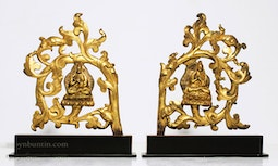Pair of Tibetan Throne Backs on Stands