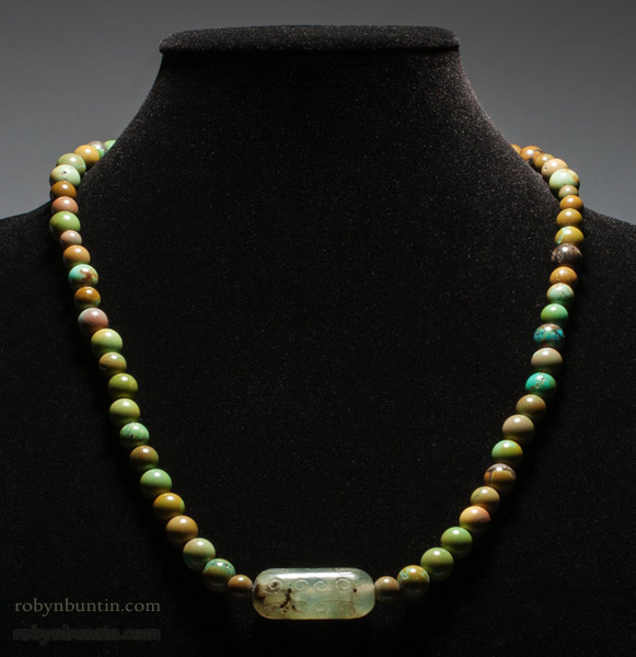Turquoise Necklace with Jade Bead(Chinese Jewelry)