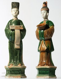 Pair of Mingqi Court Officials