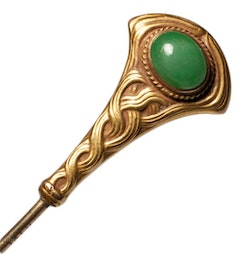 Art Nouveau Double-Sided Jade Hat Pin