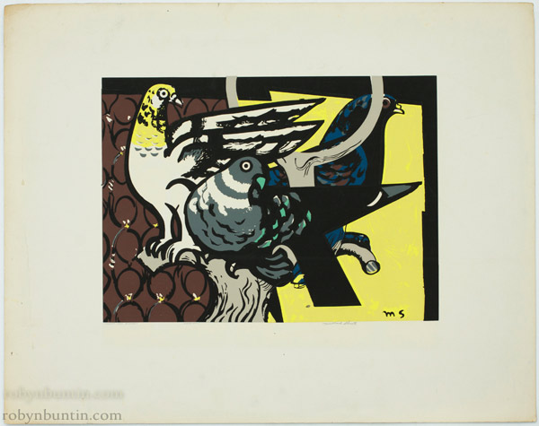 Three Gay Birds (235/370) by Millard Sheets(American Print)