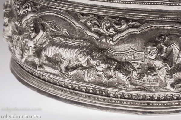 Burmese Silver Lidded Gift Container(Southeast Asian Functional Object)