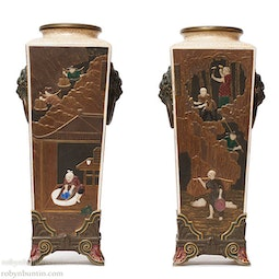 Pair of Royal Worcester Chinoiserie Vases