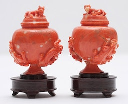 Pair of Miniature Red Coral Vases