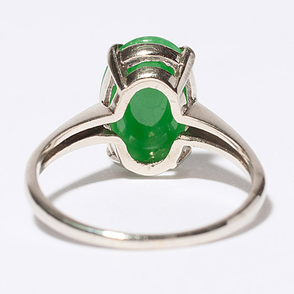 Jadeite Ring in White Gold(Chinese Jewelry)