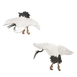 Pair of Ornamental Crane Tiles