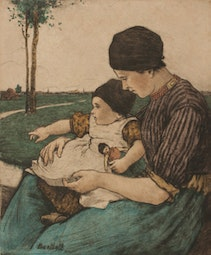Mother and Child, Volendam (2/75) by Charles W. Bartlett