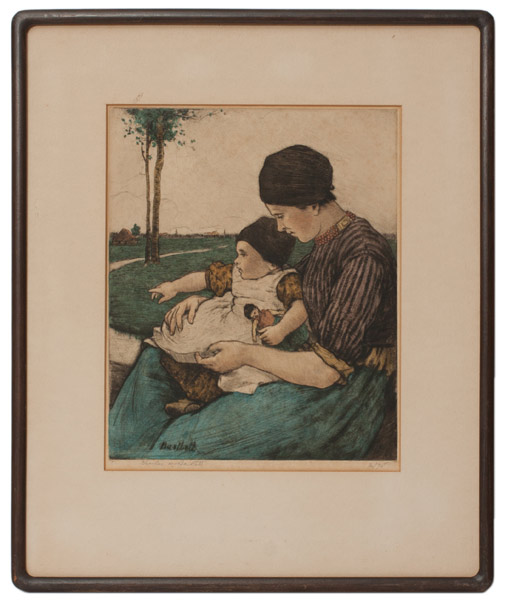 Mother and Child, Volendam (2/75) by Charles W. Bartlett(European Print)