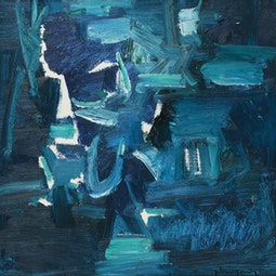 Small Blue & White Abstract by John Young