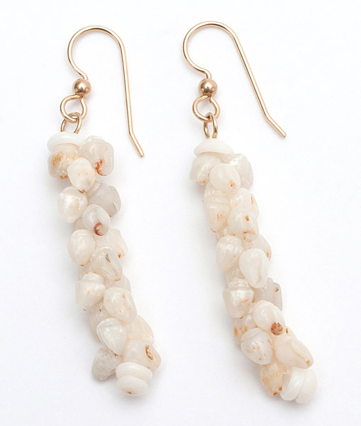 Gold Hook Ni'ihau Pikake Earrings(Hawaiian Jewelry)