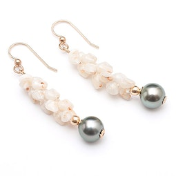 Uli Uli Ni'ihau Shell & Tahitian Pearl Earrings