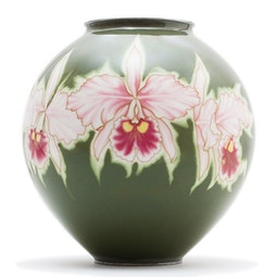 Cloisonne Orchid Vase (with box) by Ando Jubei Company