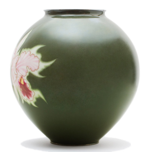 Cloisonne Orchid Vase (with box) by Ando Jubei Company(Japanese Functional Object)