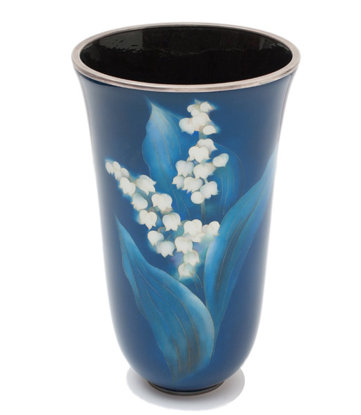 Cloisonne Lily of the Valley Vase (with box) by Ando Jubei Company(Japanese Functional Object)