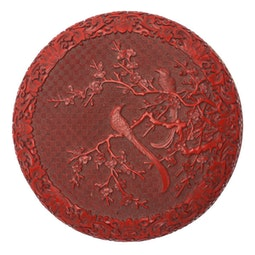 Carved Round Cinnabar Box