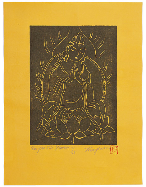 Be Your Own Kannon, Black & Gold (9/25) by Mayumi Oda(Japanese Print)