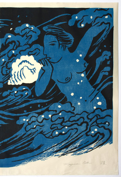 Mother Sea, Blue Diptych (9/50) by Mayumi Oda(Japanese Print)