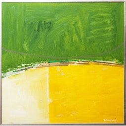 Yellow & Green Block Abstract by John Young