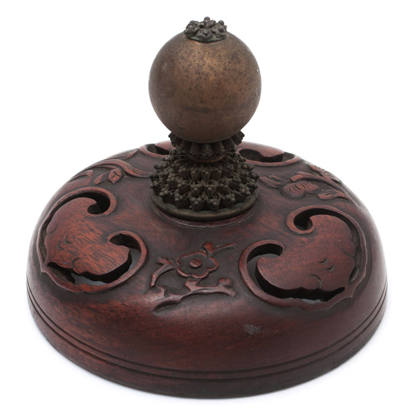 Huanghuali & Brass Cover(Chinese Sculpture)