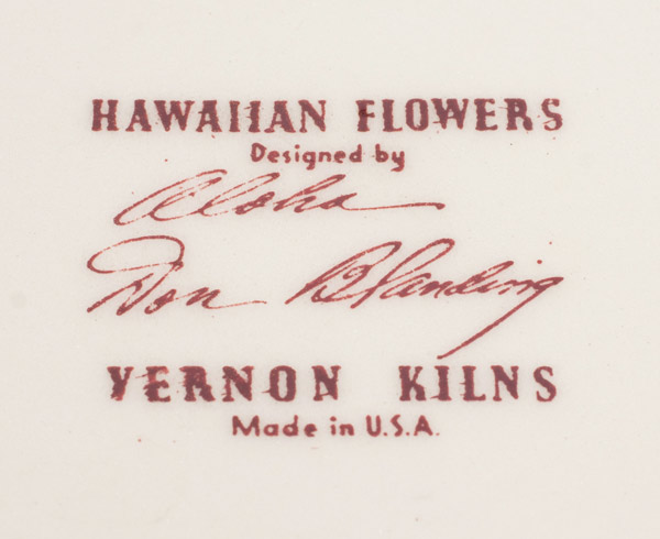 Hawaiian Flowers 12.25 Inch Charger by Don Blanding(Hawaiian Functional Object)