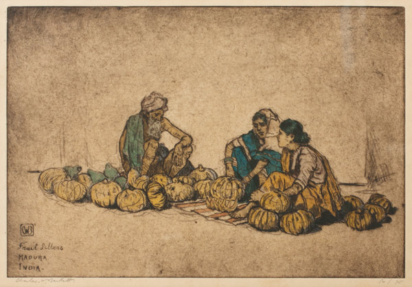 Fruit Sellers, Madura India (54/75) by Charles W. Bartlett(Indian Print)