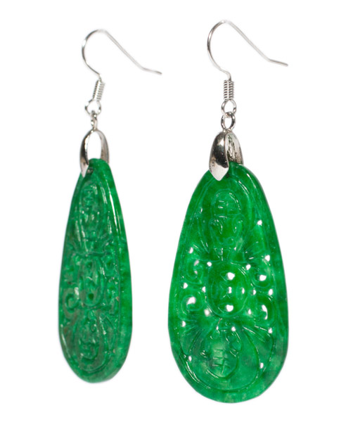 Jadeite Coin Earrings(Chinese Jewelry)
