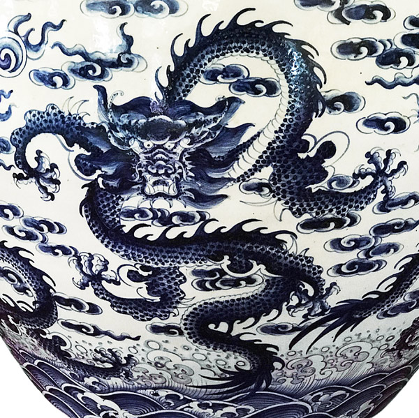 Blue & White Dragon Jardiniere(Chinese Functional Object)