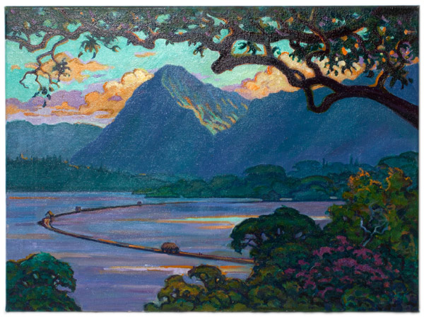 Golden Hour, Pali by Dennis Morton(Hawaiian Painting/Drawing)