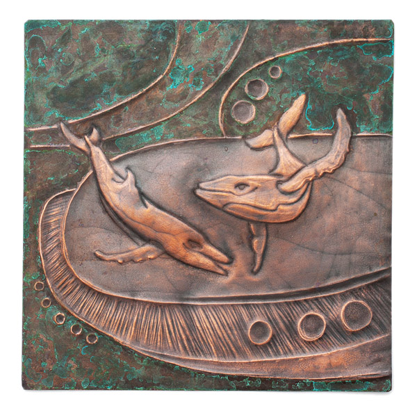 Copper Repousse Whale Panel by Kazuko Inomata(Japanese Sculpture)