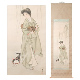 Bijin with a Dog by Mizuno, Toshikata