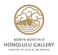 Thai Blue Glass Pendant with Gold Chain