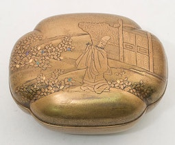 Loaf Shaped Gold Lacquer Box (with box)