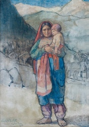 Afghani Mother & Child, Kyber Pass, 1920 by Charles W. Bartlett