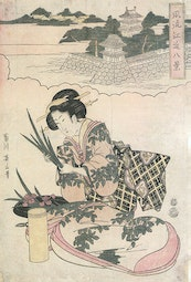 Lady With Irises by Kikugawa Eizan