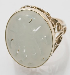 Carved White Jade Ring