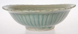 Sawankalok Celadon Bowl with Fluted Lip