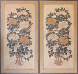 Pair of Korean Floral Scenes