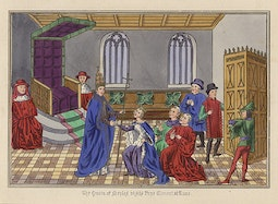 Manuscript Illumination: Visit of Queen of Naples
