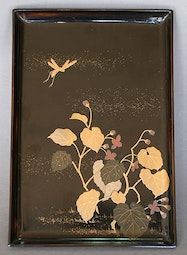 Lacquer Tray with Flower & Grasshopper Design
