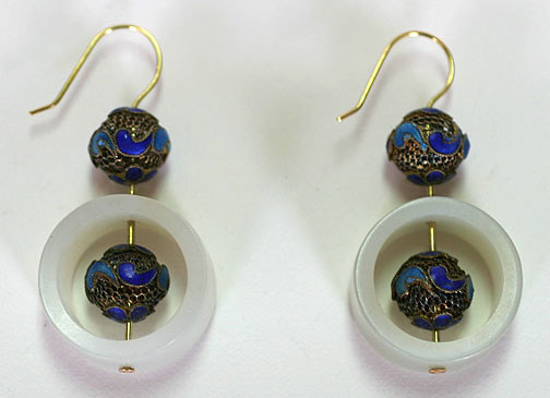 Cloisonne and Nephrite Earrings(Chinese Jewelry)