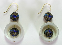 Cloisonne and Nephrite Earrings