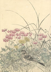 Bird in Flower Patch by Imao Keinen