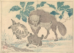 Wolf with Turtles by Kawanabe Kyosai