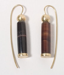 18k Gold Agate Earrings