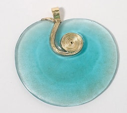 Ancient Thai Blue Glass Pendant with Gold Chain