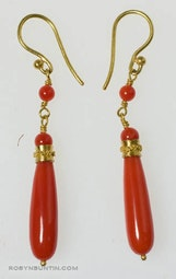 Coral Drop Earrings by Tomi